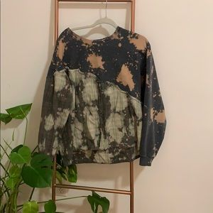 Bleach-dyed, Button up sweatshirt